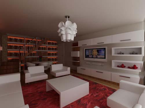 Salon dekorasyon Tv Ünitesi ve Duvarlarda Doğal Taş Uygulaması