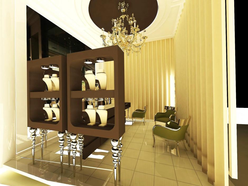 Gana kuyumcu dekorasyon mücevher mağazası tasarım